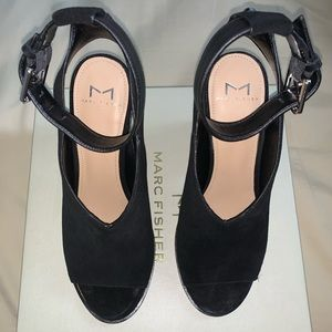 Marc Fisher Black Suede Block Heel Sandal
